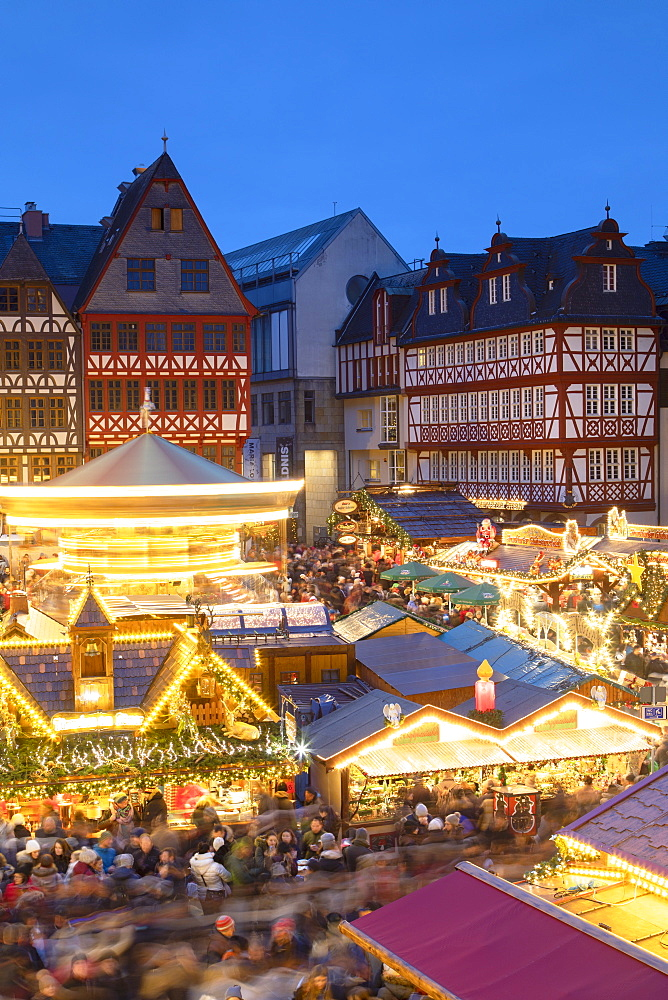 Frankfurt Christmas Market at dusk, Frankfurt am Main, Hesse, Germany