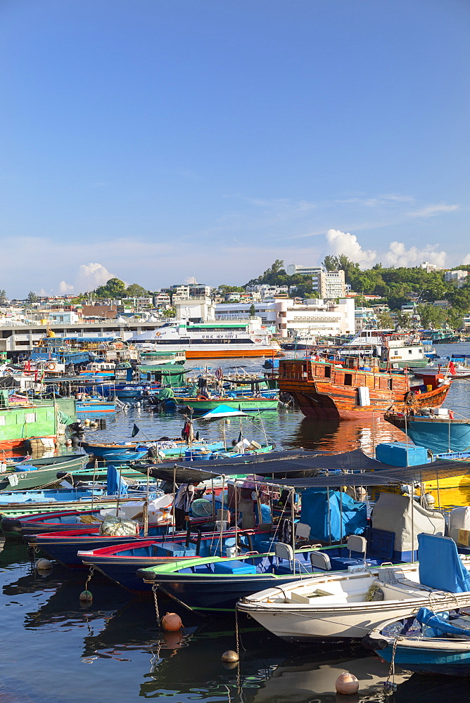 Fishing boats in harbour, Cheung Chau, Hong Kong, China, Asia