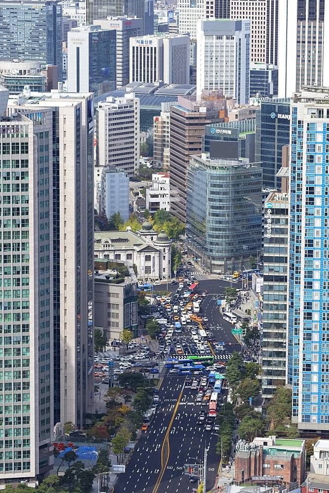 Aerial view of skyscrapers and traffic, Seoul, South Korea, Asia - 800-3838