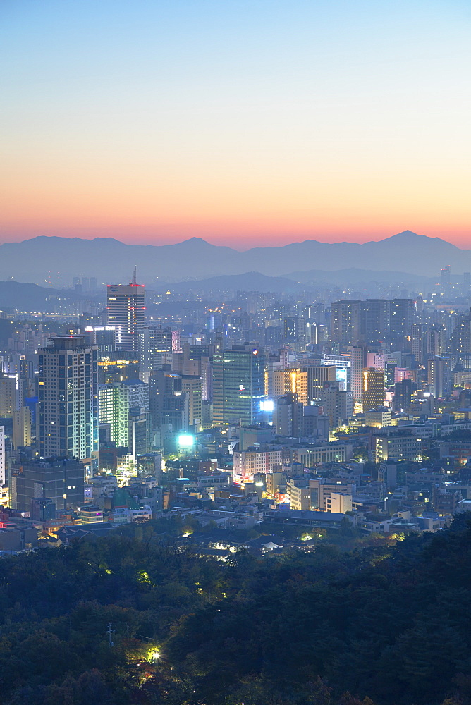 View of Seoul at dawn, Seoul, South Korea, Asia