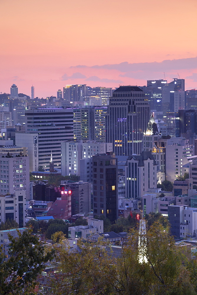 Seoul cityscape at sunset, Seoul, South Korea, Asia