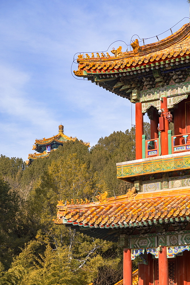 Pavilions in Jingshan Park, Beijing, China, Asia