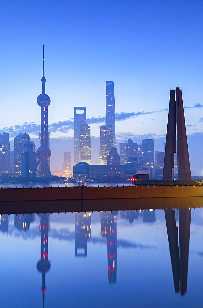 Skyline of Pudong at dawn, Shanghai, China, Asia - 800-3929
