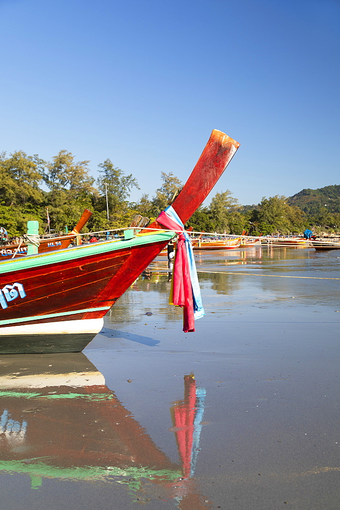 Long tail boats on Kata Beach, Phuket, Thailand, Southeast Asia, Asia - 800-3949