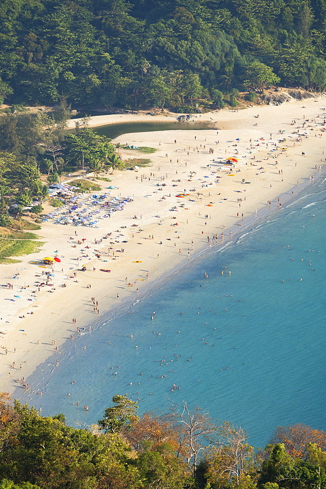 Elevated view of Hai Nan Beach, Phuket, Thailand, Southeast Asia, Asia - 800-3959