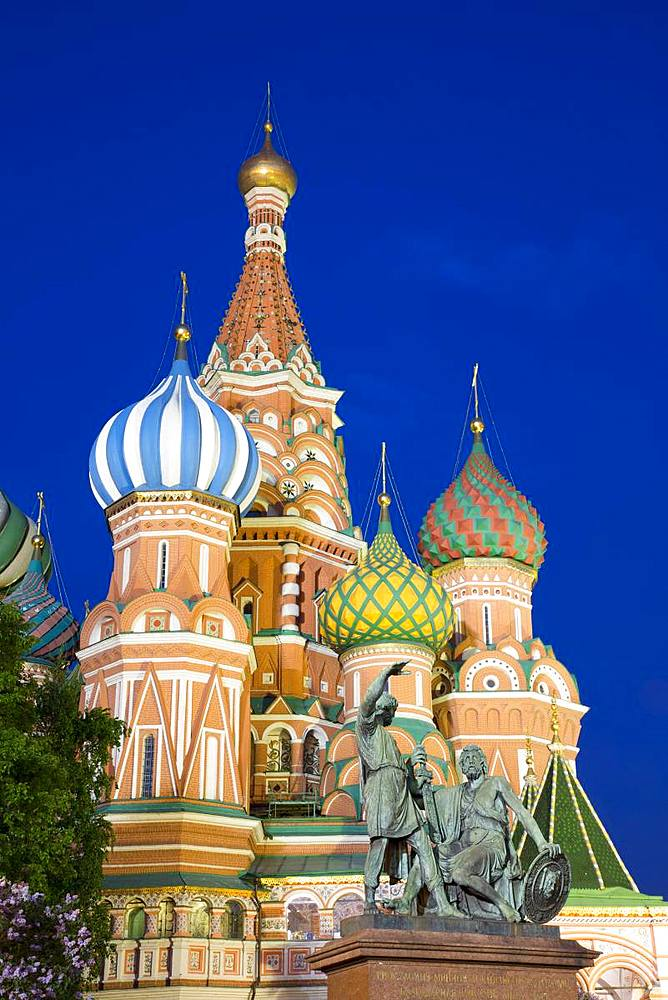 Evening, St. Basil's Cathedral, Red Square, UNESCO World Heritage Site, Moscow, Russia, Europe