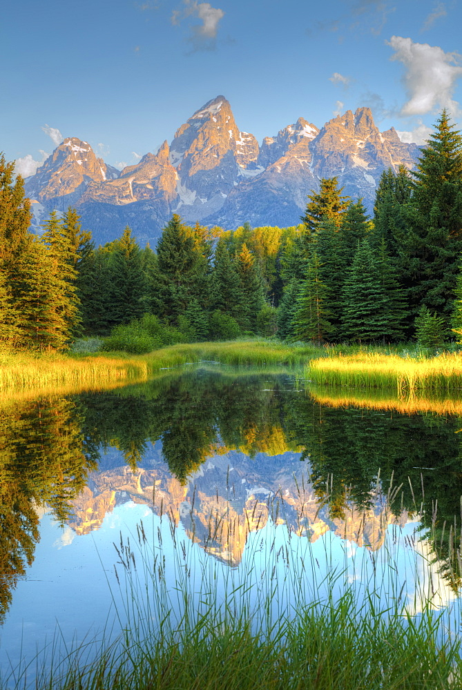 Early morning, Teton Range from Schwabache Landing, Grand Teton National Park, Wyoming, United States of America, North America