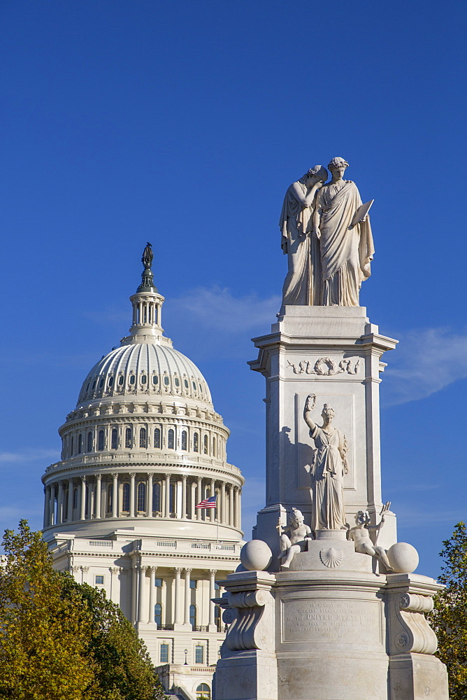 Peace Monument in foreground, United States Capitol Building in the background, Washington D.C., United States of America, North America - 801-2442
