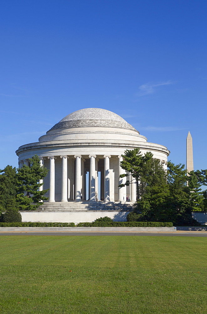 Thomas Jefferson Memorial, George Washington Memorial in the background, Washington D.C., United States of America, North America - 801-2448