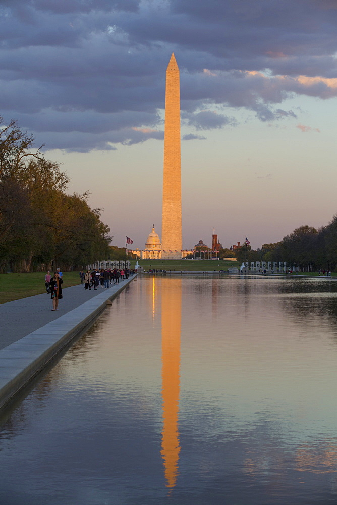 Late afternoon, Washington Monument taken from Lincoln Monument, Washington D.C., United States of America, North America