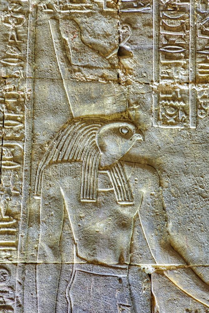 The God Horus, Bas Relief, Sanctuary of Horus, Temple of Horus, Edfu, Egypt, North Africa, Africa