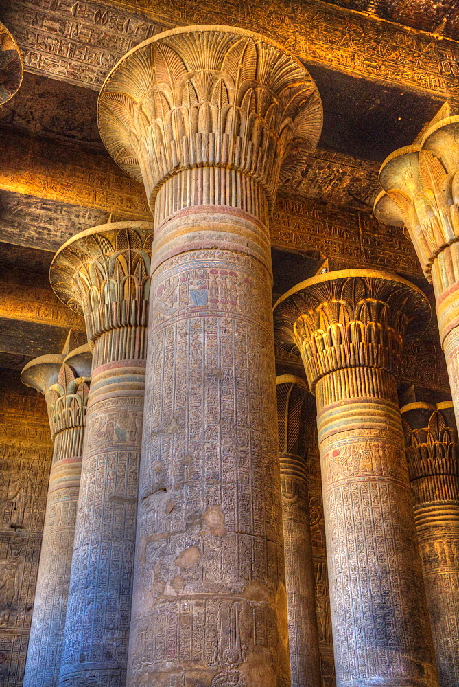 Bas Reliefs, Columns, Hypostyle Hall, Temple of Khnum, Esna, Egypt, North Africa, Africa