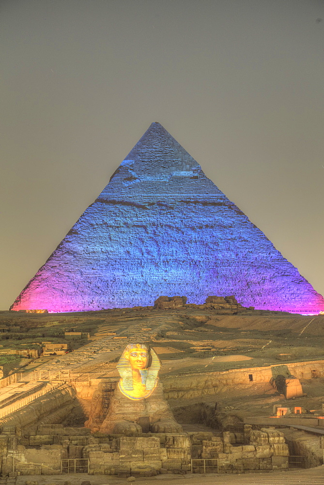Light Show, Sphinx, Khafre Pyramid in the background, Great Pyramids of Giza, UNESCO World Heritage Site, Giza, Egypt, North Africa, Africa