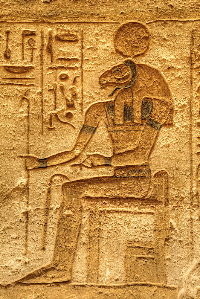 God, Sobek, Sunken Relief, Lateral Chamber, Ramses II Temple, UNESCO World Heritage Site, Abu Simbel, Nubia, Egypt, North Africa, Africa