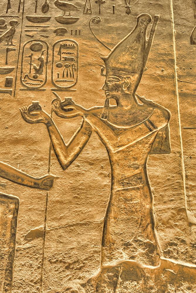 Ramses II, Reliefs, Temple of Hathor and Nefertari, UNESCO World Heritage Site, Abu Simbel, Nubia, Egypt, North Africa, Africa