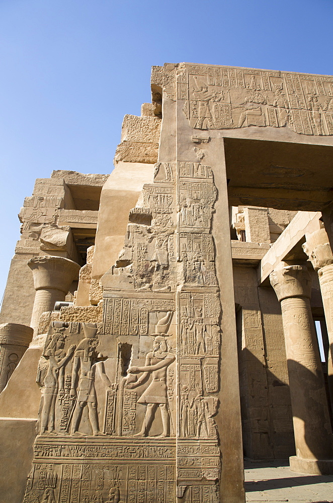 Wall with Reliefs, Temple of Sobek and Haroeris, Kom Ombo, Egypt, North Africa, Africa - 801-2938