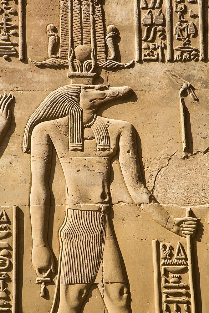 Crocodile God Sobek, Wall Reliefs, Temple of Sobek and Haroeris, Kom Ombo, Egypt, North Africa, Africa