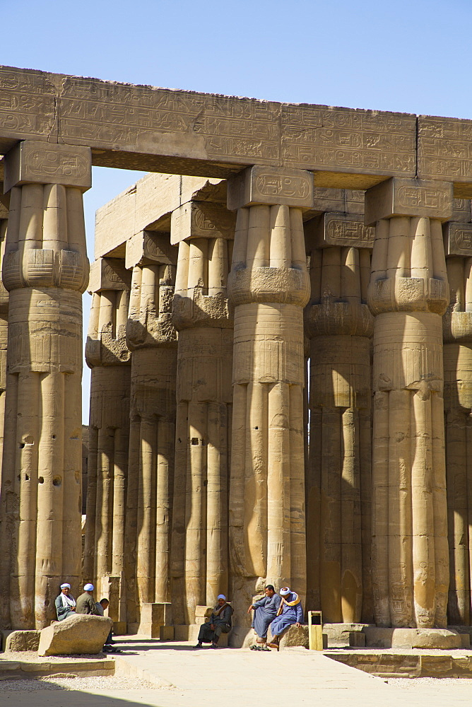 Columns of Hypostyle Hall, Luxor Temple, UNESCO World Heritage Site, Luxor, Egypt