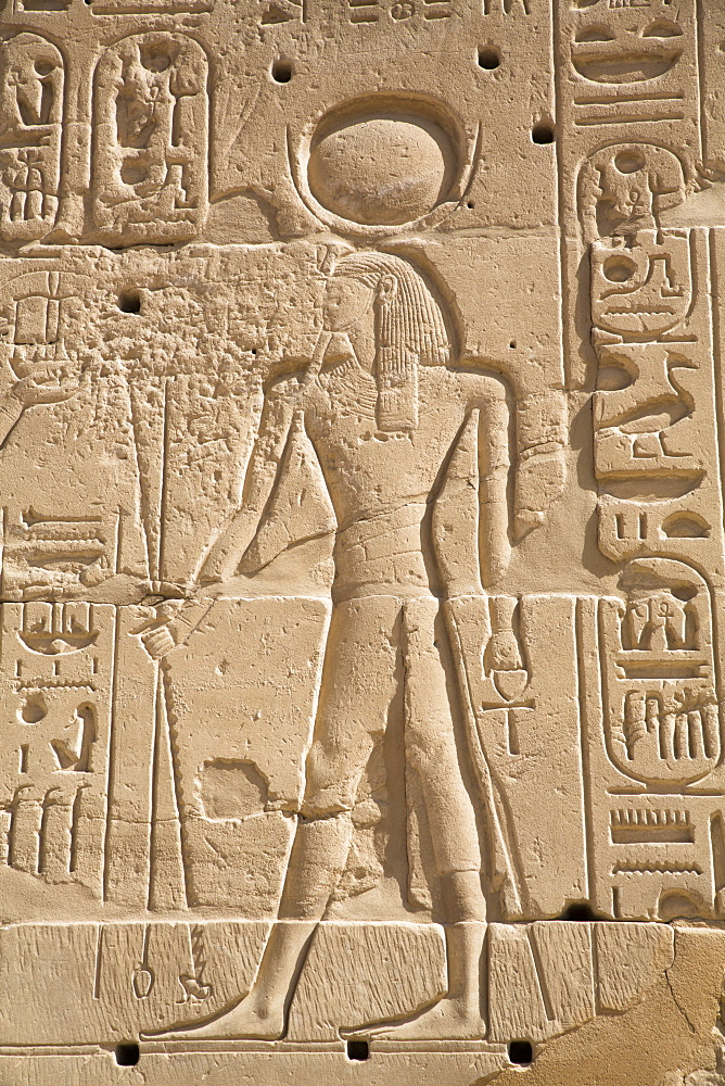 Relief of Deity, Karnak Temple Complex, UNESCO World Heritage Site, Luxor, Thebes, Egypt, North Africa, Africa