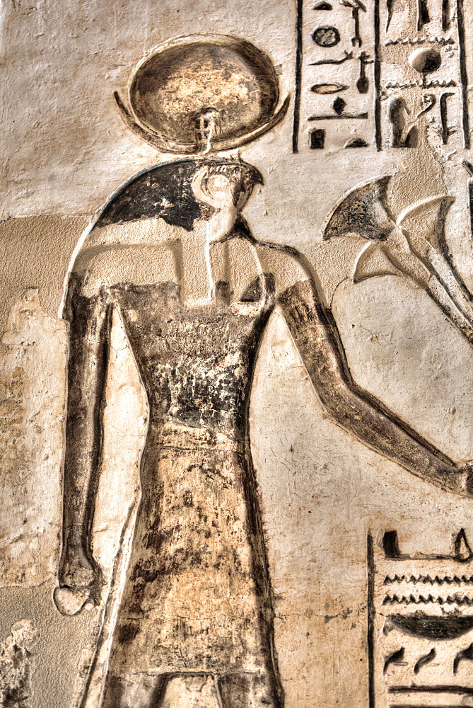 Relief of God Horus, Temple of Khonsu, Karnak Temple Complex, UNESCO World Heritage Site, Luxor, Thebes, Egypt, North Africa, Africa - 801-3000