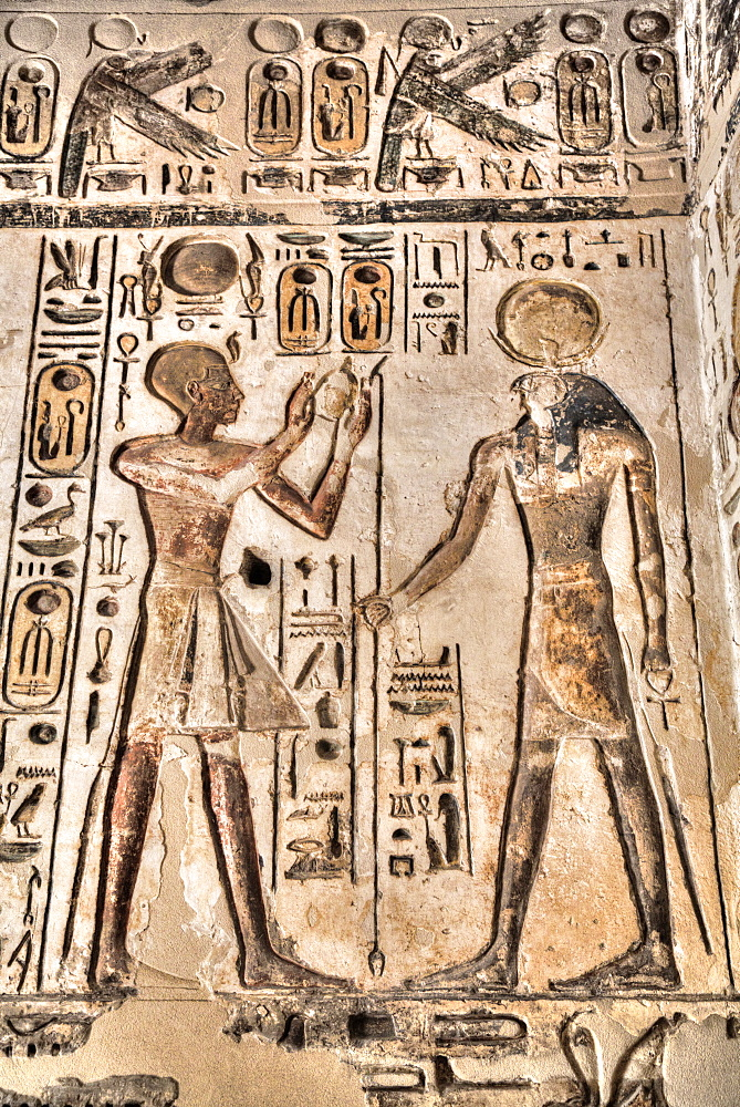 Relief, Pharaoh on left, God Horus on the right, Temple of Khonsu, Karnak Temple Complex, UNESCO World Heritage Site, Luxor, Thebes, Egypt, North Africa, Africa - 801-3001