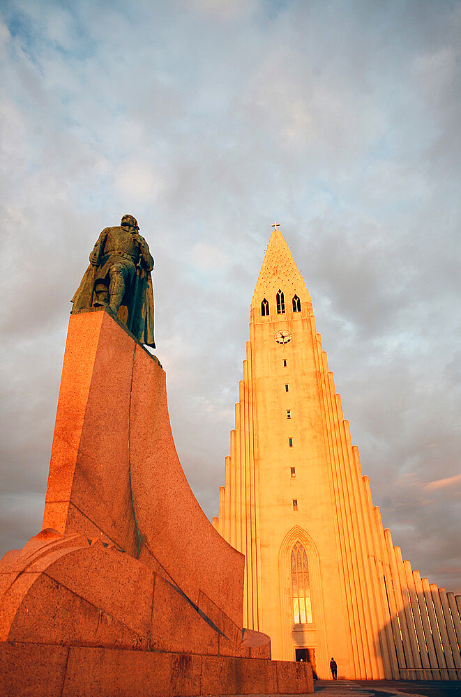 Midnight sun on Hallgrimskirkja (Church of Iceland) Cathedral, Reykjavik, Iceland, Polar Regions