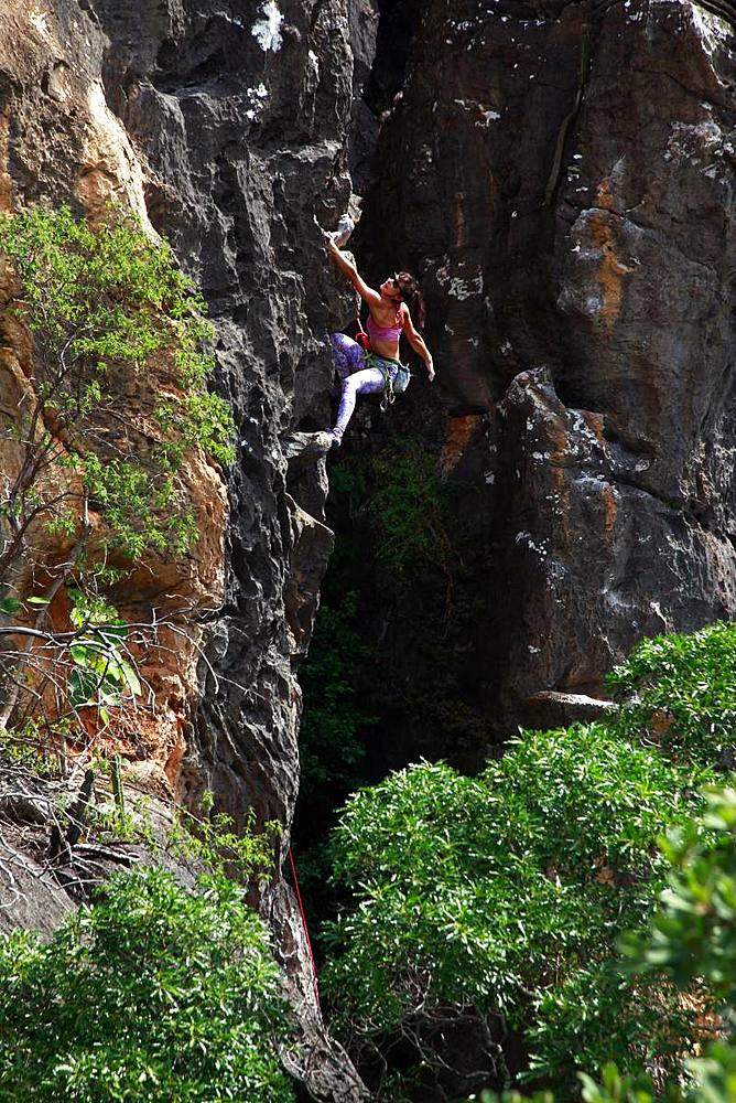 Rock climber in action, Serra do Cipo, Minas Gerais, Brazil, South America - 802-472