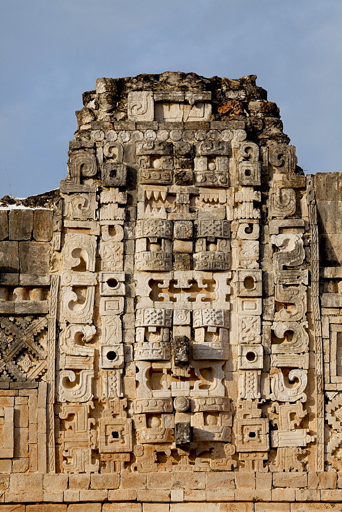 Closeup view of the Nunnery Quadrangle, Uxmal, UNESCO World Heritage Site, Yucatan, Mexico, North America