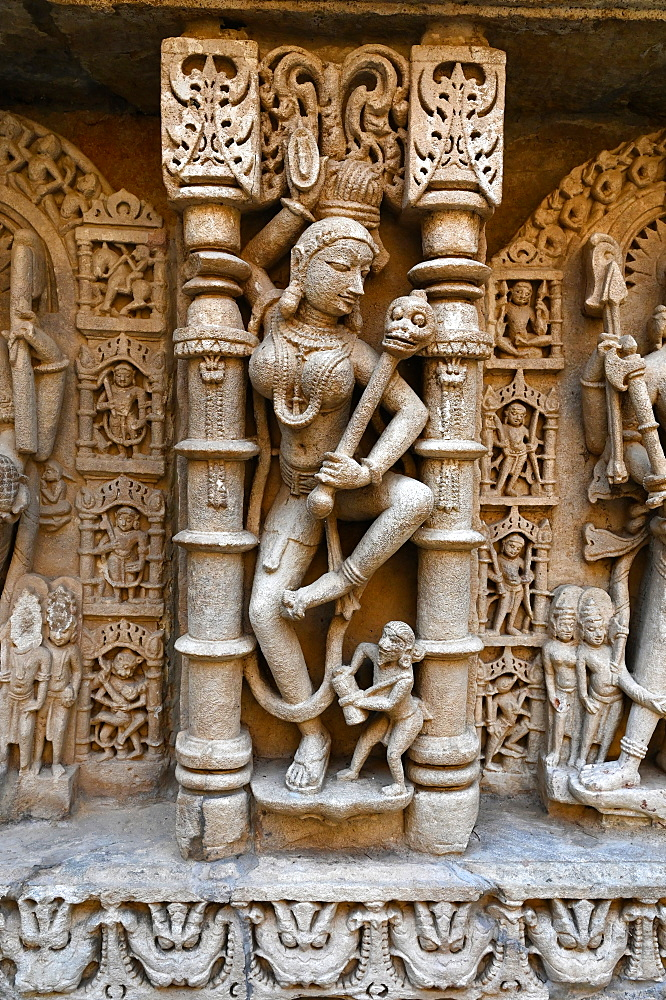 Beautiful wall carving at 11th century Rani ki Vav (Queen's Stepwell), built for Udayamati of Chaulukya dynasty, UNESCO World Heritage Site, Patan, Gujarat, India, Asia