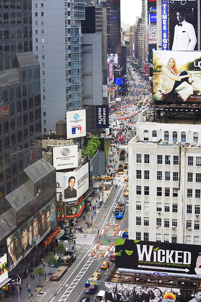 High angle view, Broadway and Times Square, Manhattan, New York City, New York, United States of America, North America