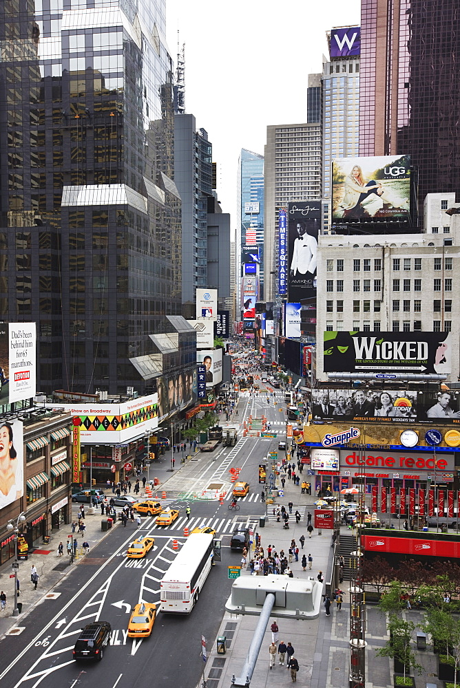 Looking down Broadway towards Times Square, Manhattan, New York City, New York, United States of America, North America
