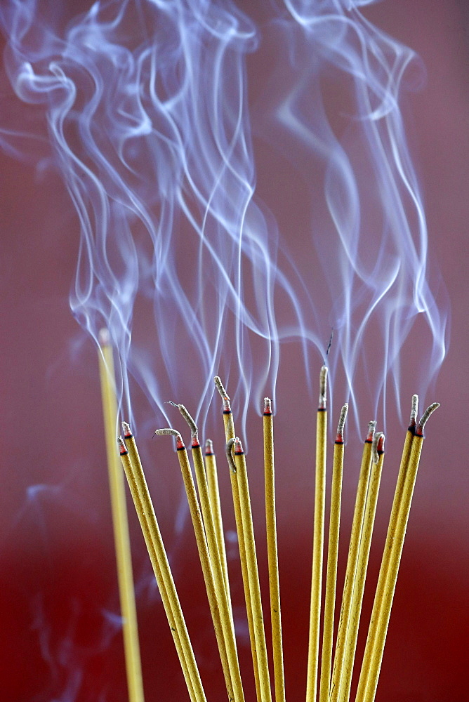 Incense sticks on joss stick pot burning, smoke used to pay respect to the Buddha, Vung Tau, Vietnam, Indochina, Southeast Asia, Asia - 809-7676