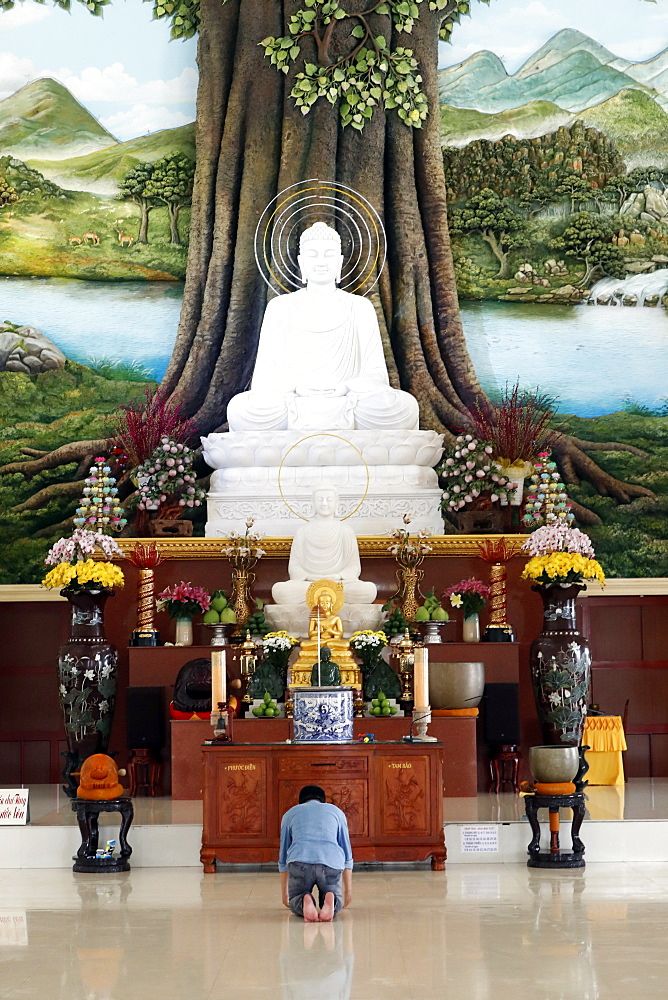 Van Linh Buddhist pagoda, man praying to the Buddha, the Enlightenment of the Buddha statue, An Hao, Vietnam, Indochina, Southeast Asia, Asia - 809-7680