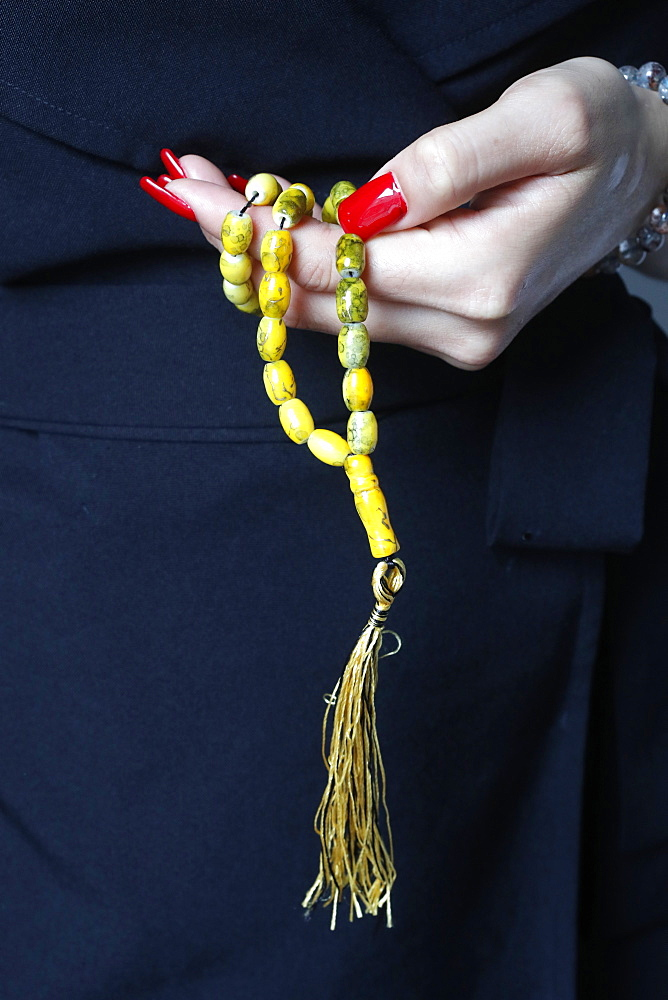 Close-up of Muslim woman holding Islamic prayer beads, Vietnam, Indochina, Southeast Asia, Asia - 809-7699