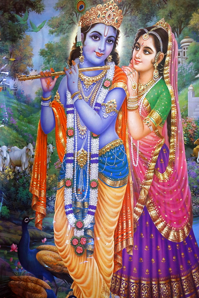 Subramaniam Swamy Temple, painting of Krishna and Radha, Ho Chi Minh City, Vietnam, Indochina, Southeast Asia, Asia
