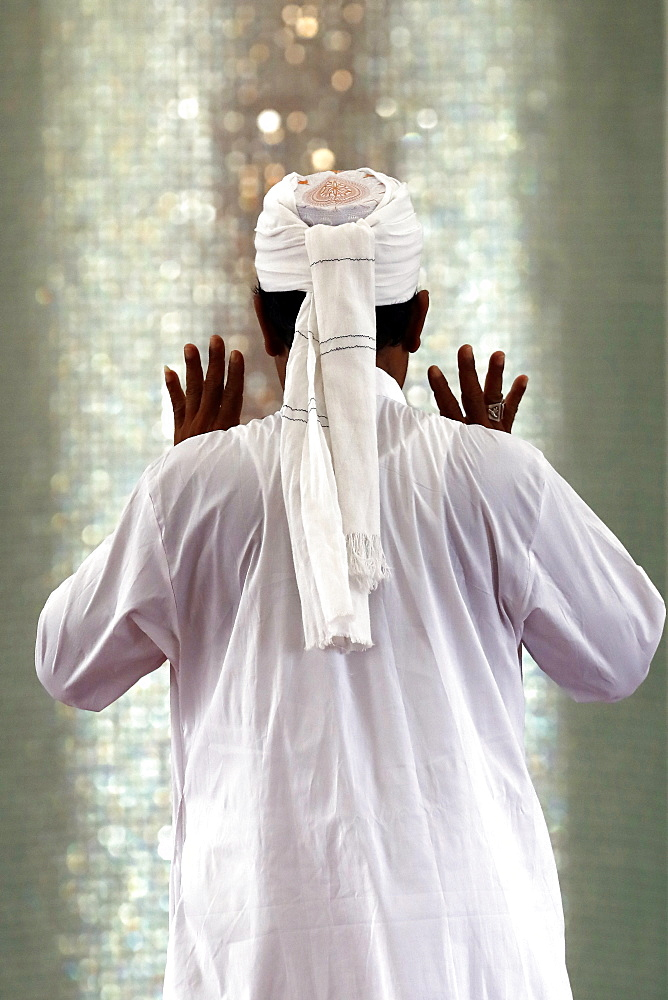 Muslim man praying, Masjid Ar-Rohmah mosque, Chau Doc, Vietnam, Indochina, Southeast Asia, Asia