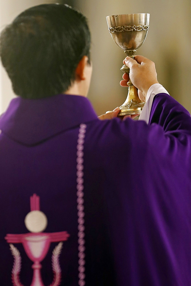 Priest wearing purple roman chasuble, Catholic Mass, Eucharist celebration, Elevation, Quy Nhon, Vietnam, Indochina, Southeast Asia, Asia