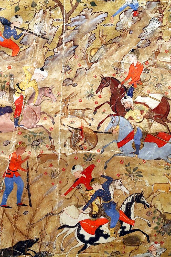 Artistic ornamentation of manuscript of Princes hunting on horseback, Safavid Iran, 16th century, Islamic Arts Museum, Kuala Lumpur, Malaysia, Southeast Asia, Asia