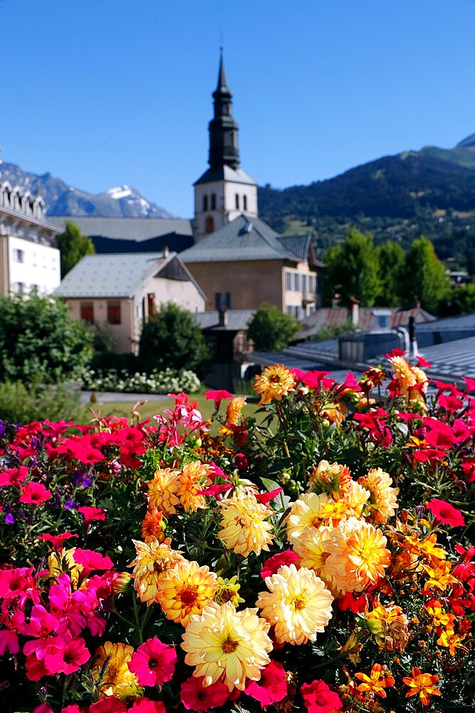 Colourful flowers in the village of Saint Gervais les Bains in the French Alps, Haute-Savoie,  France, Europe - 809-8166
