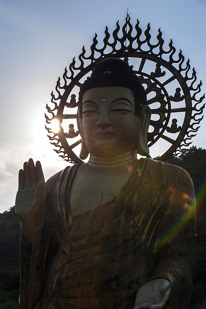 Backlit Golden Maitreya Statue, Beopjusa Temple Complex, South Korea, Asia