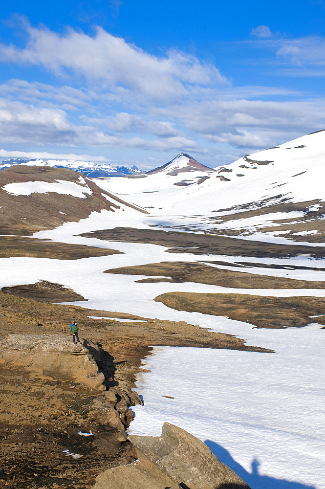 Walkers in mountain landscape covered with ice, Snaefellsjokull National Park, Iceland, Polar Regions