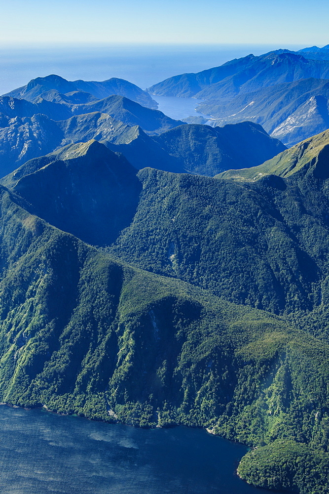 Aerial of Fiordland National Park, UNESCO World Heritage Site, South Island, New Zealand, Pacific