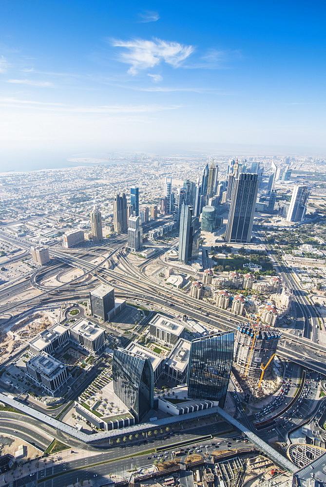 View over Dubai from Burj Khalifa, Dubai, United Arab Emirates, Middle East