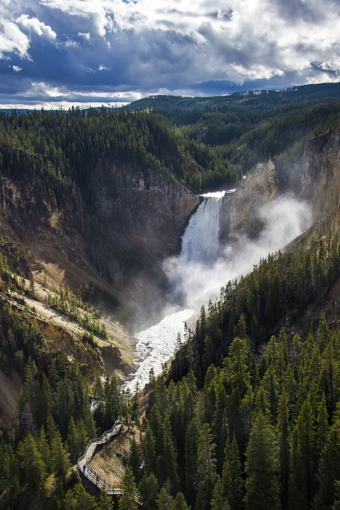 The Upper Falls in the Grand Canyon of Yellowstone in the Yellowstone National Park, UNESCO World Heritage Site, Wyoming, United States of America, North America