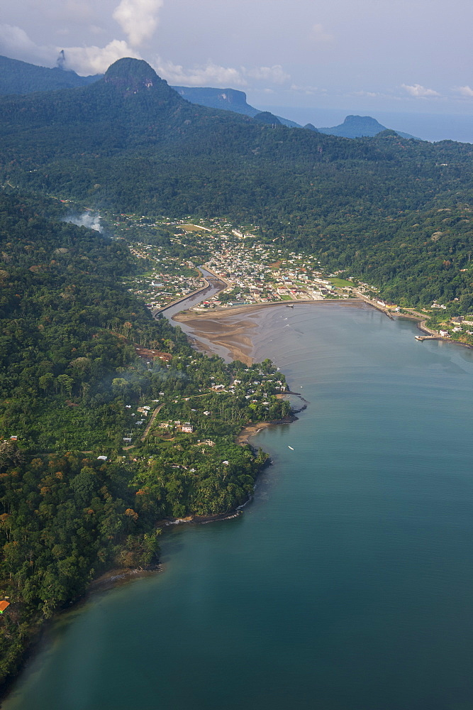 Aerial view of the UNESCO Biosphere Reserve, Principe, Sao Tome and Principe, Atlantic Ocean, Africa
