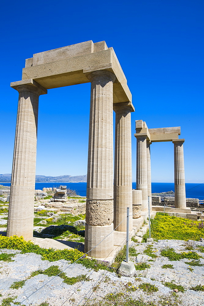 Acropolis of Lindos, Rhodes, Dodecanese Islands, Greek Islands, Greece, Europe