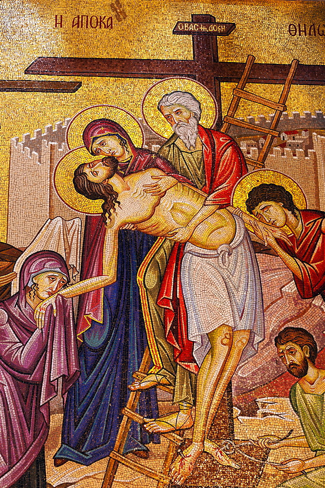 Mosaic artwork of Christ and the Cross, Church of the Holy Sepulchre, Jerusalem, Israel, Middle East - 818-1343