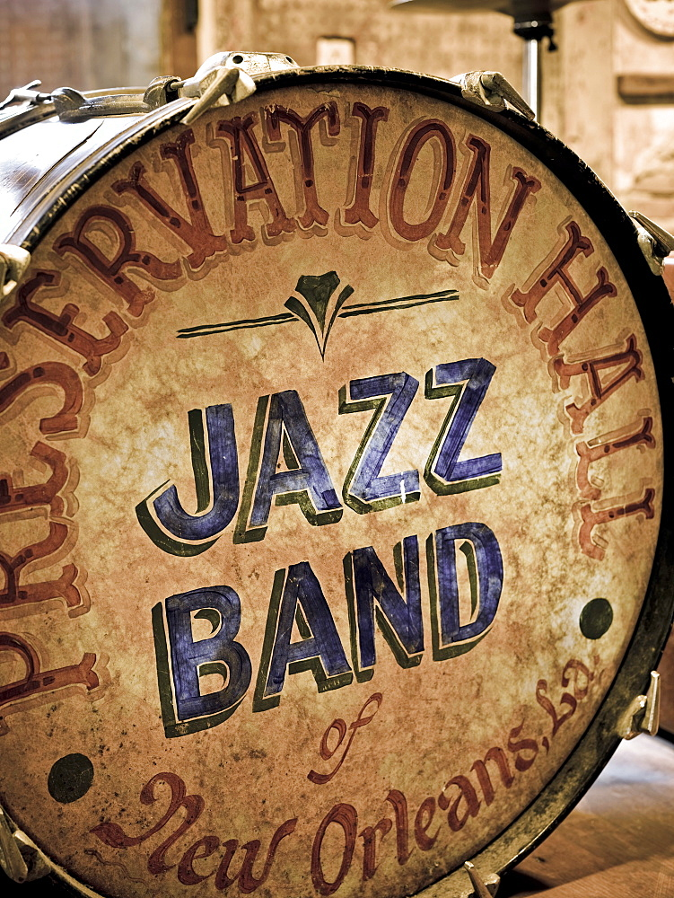 Preservation Hall, drum kit, French Quarter, New Orleans, Louisiana, United States of America, North America - 818-503