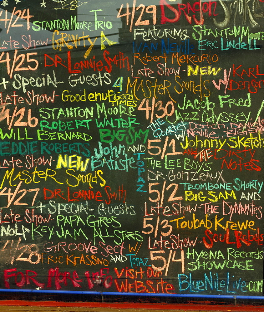 Chalk board announcing with upcoming bands, French Quarter, New Orleans, Louisiana, United States of America, North America - 818-510