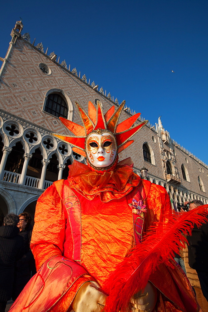 Carnival masks and costumes during Venice Carnival, St. Mark's Square, Venice, Veneto, Italy, Europe